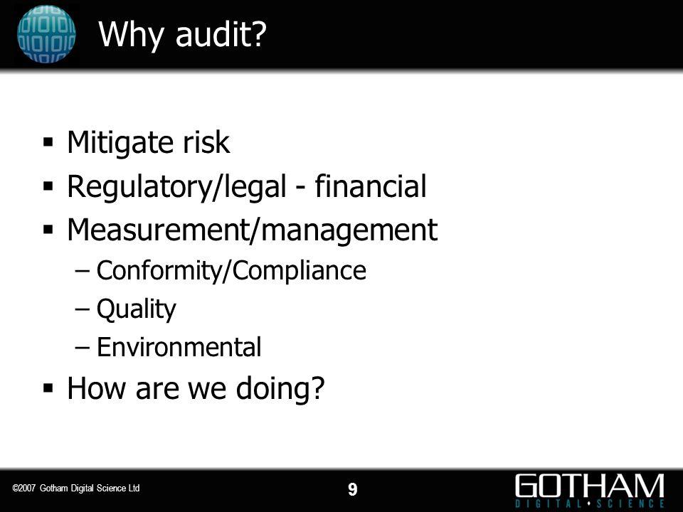Why audit Mitigate risk Regulatory/legal - financial