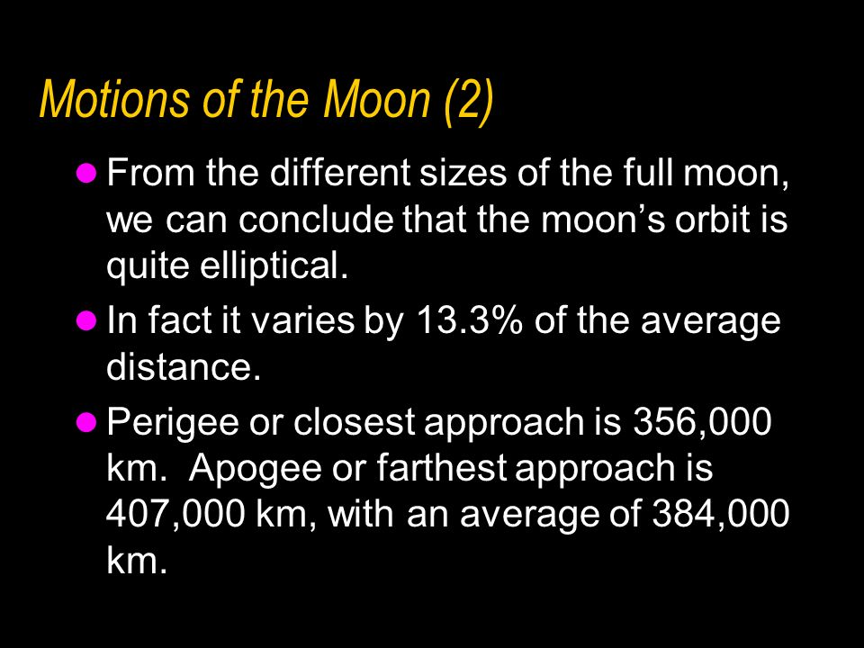 Motions of the Moon (2)From the different sizes of the full moon, we can conclude that the moon's orbit is quite elliptical.
