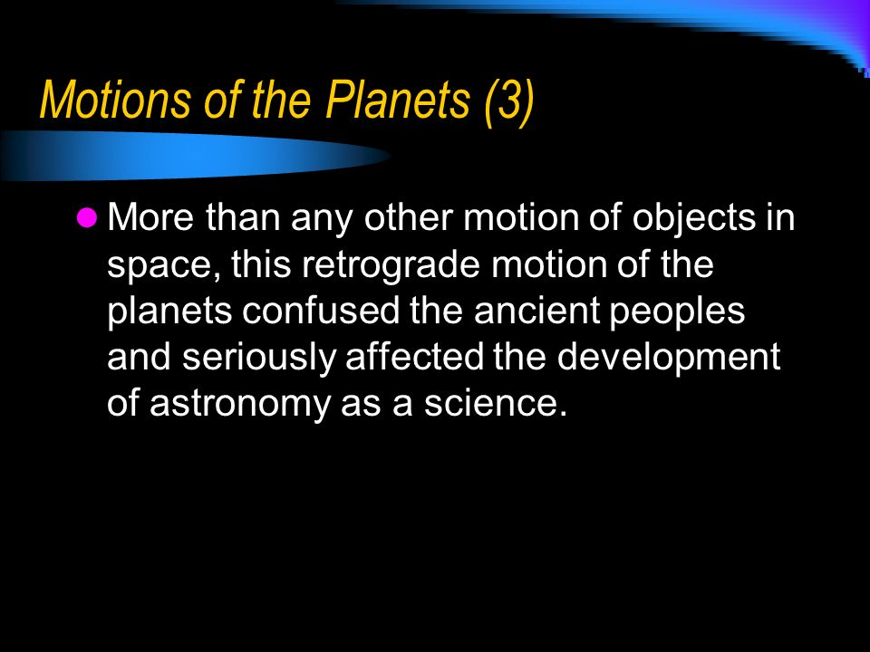 Motions of the Planets (3)
