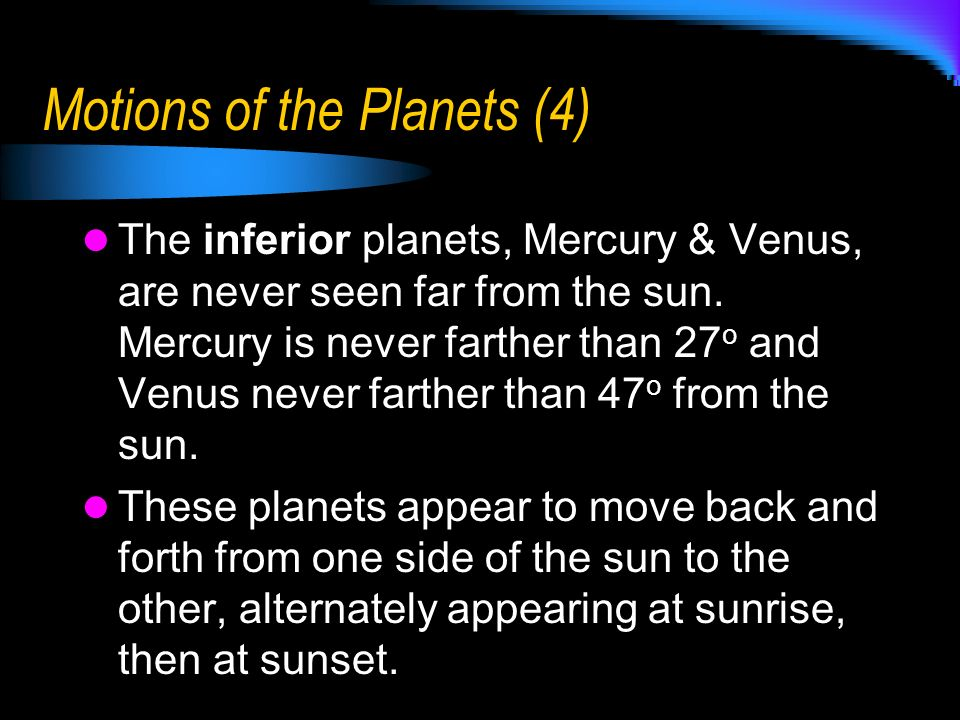 Motions of the Planets (4)