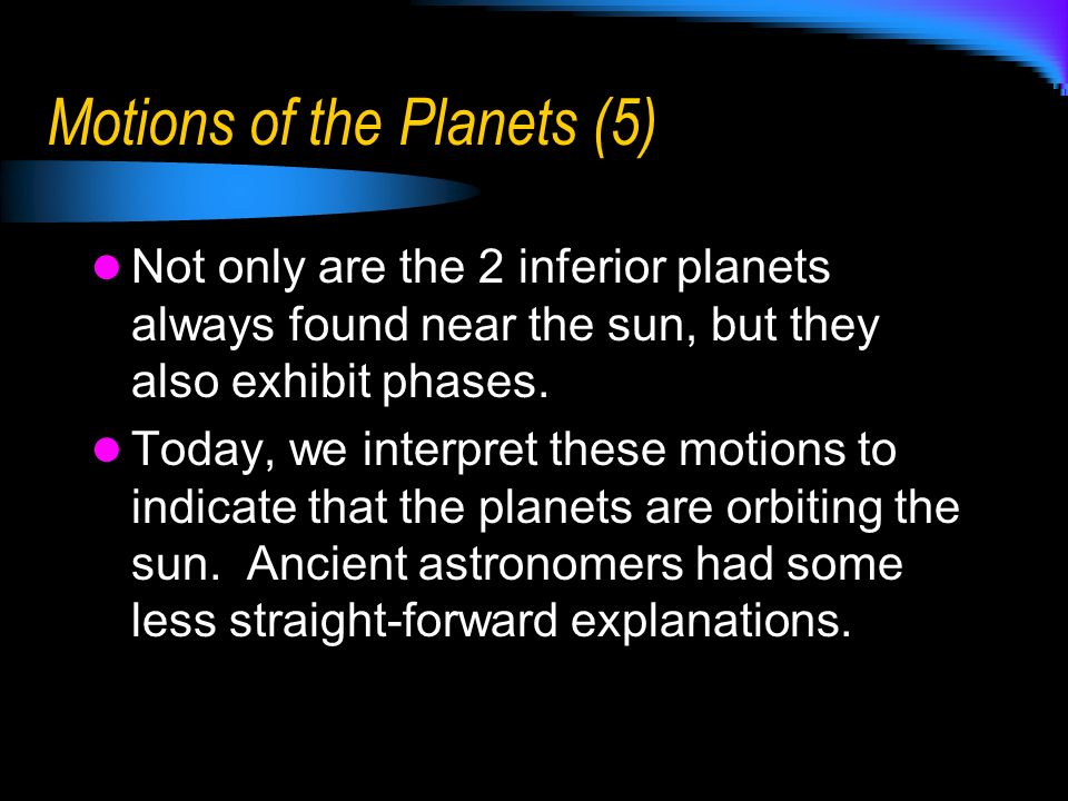 Motions of the Planets (5)