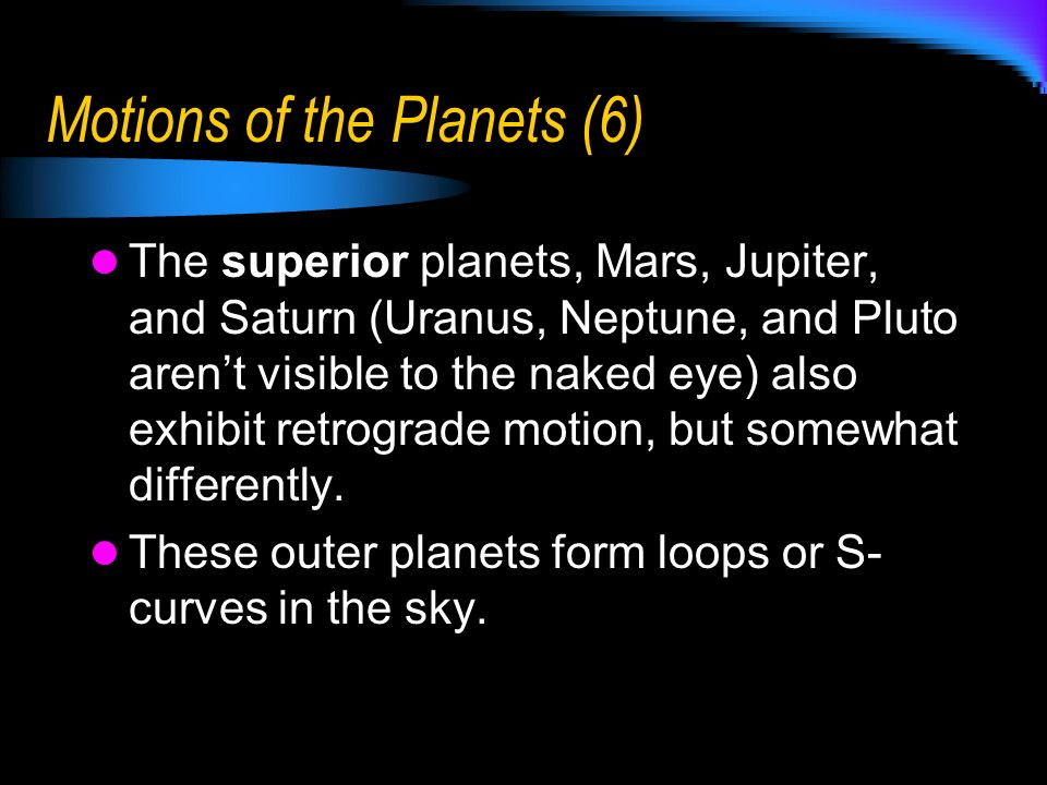 Motions of the Planets (6)