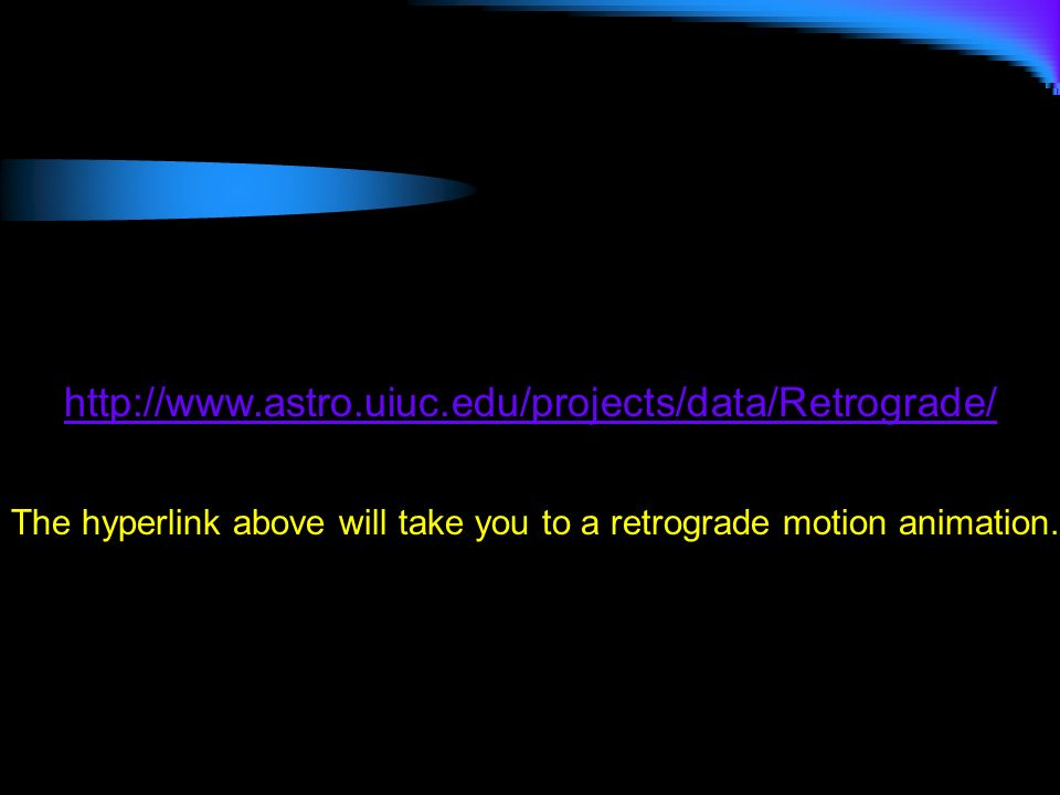 http://www.astro.uiuc.edu/projects/data/Retrograde/The hyperlink above will take you to a retrograde motion animation.