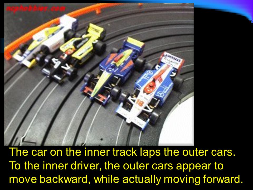 The car on the inner track laps the outer cars