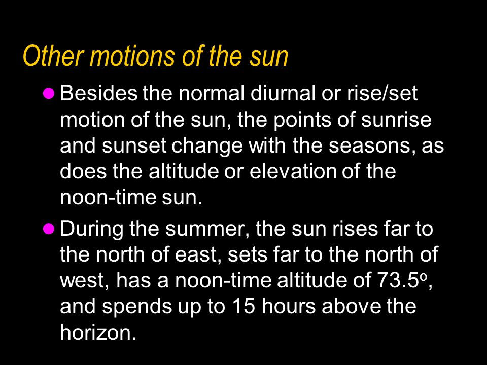 Other motions of the sun