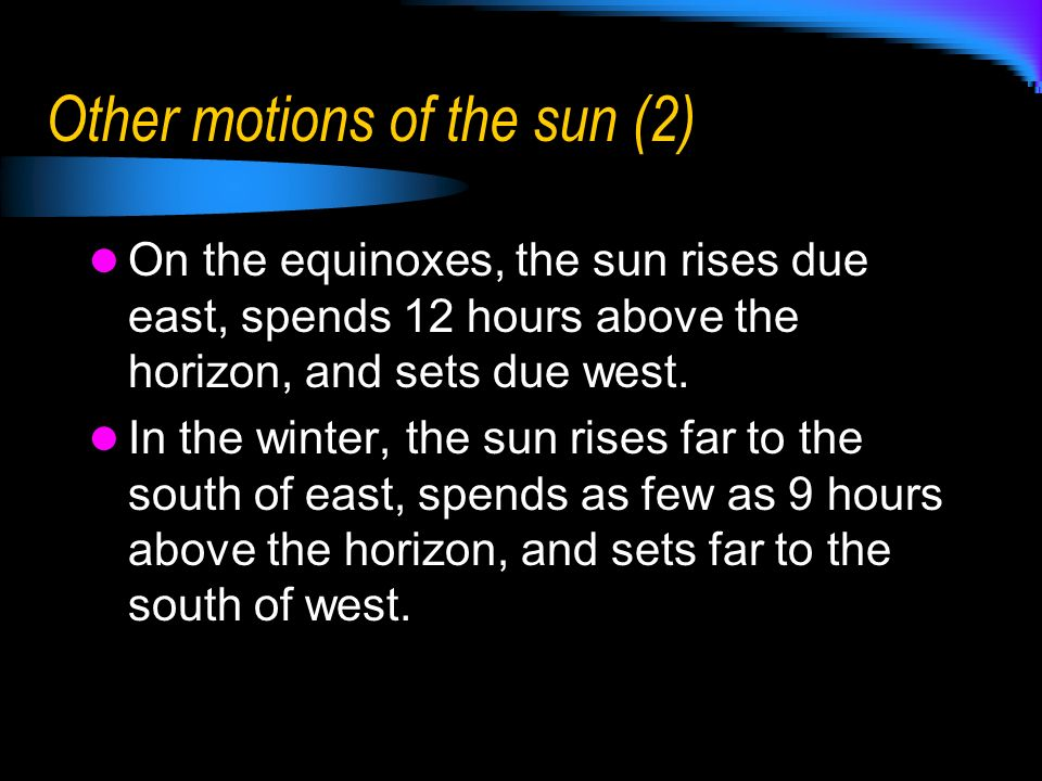 Other motions of the sun (2)