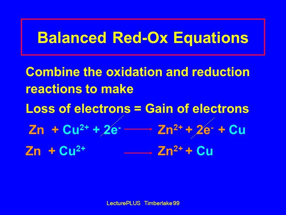Balanced Red-Ox Equations