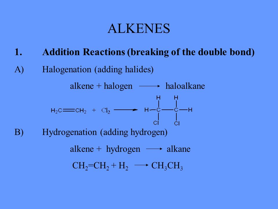 ALKENES 1. Addition Reactions (breaking of the double bond)