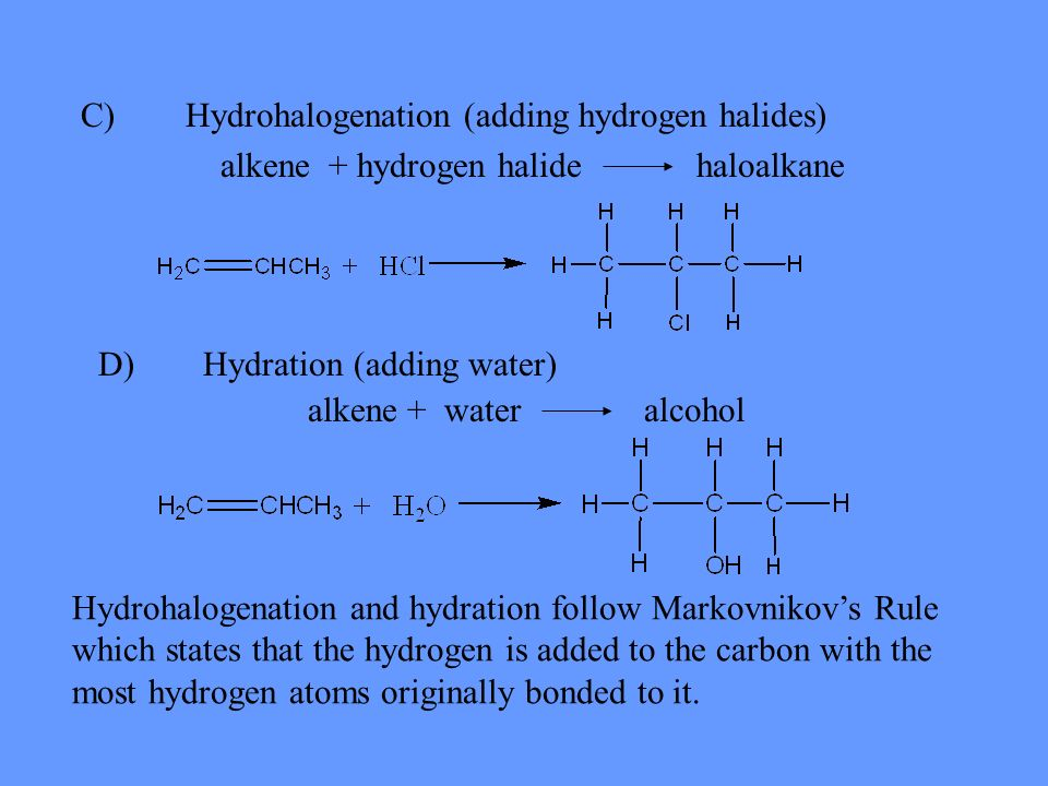 C) Hydrohalogenation (adding hydrogen halides)