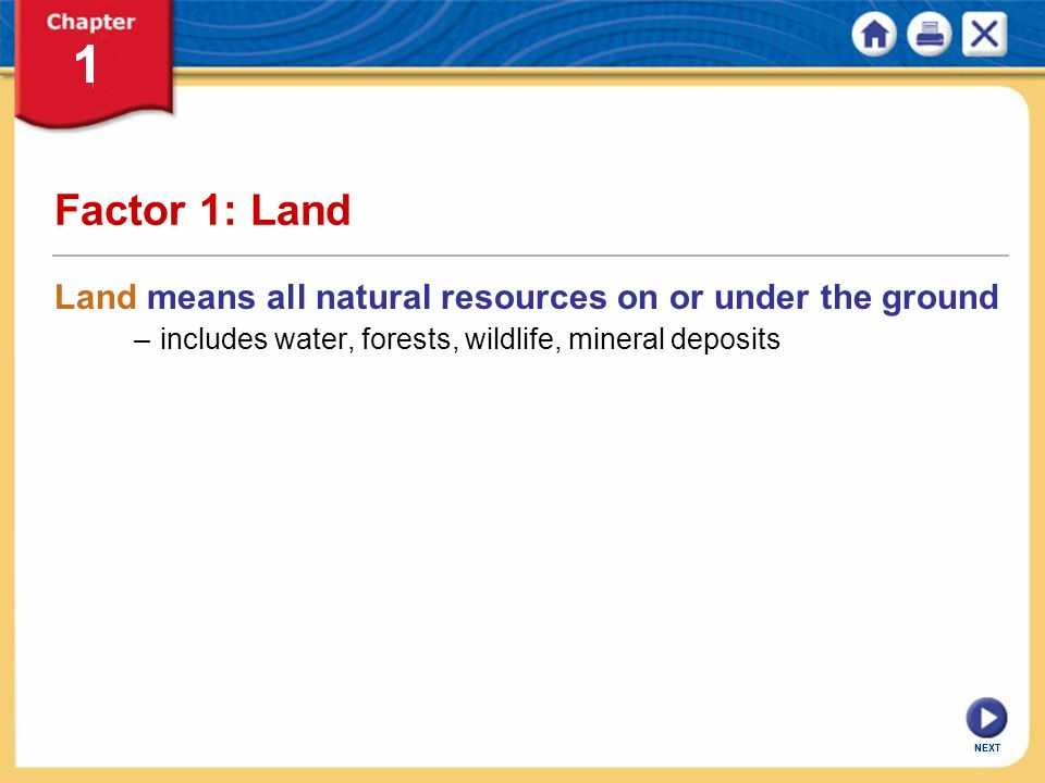 Factor 1: Land Land means all natural resources on or under the ground