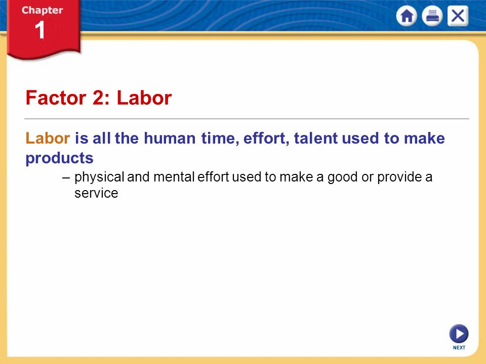 Factor 2: Labor Labor is all the human time, effort, talent used to make products.