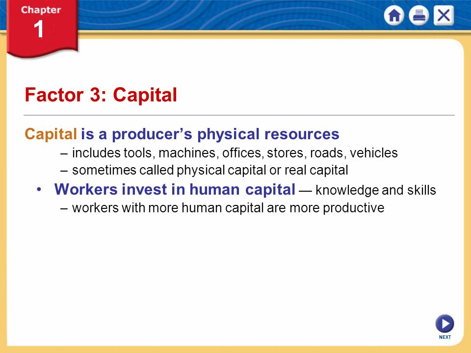 Factor 3: Capital Capital is a producer's physical resources