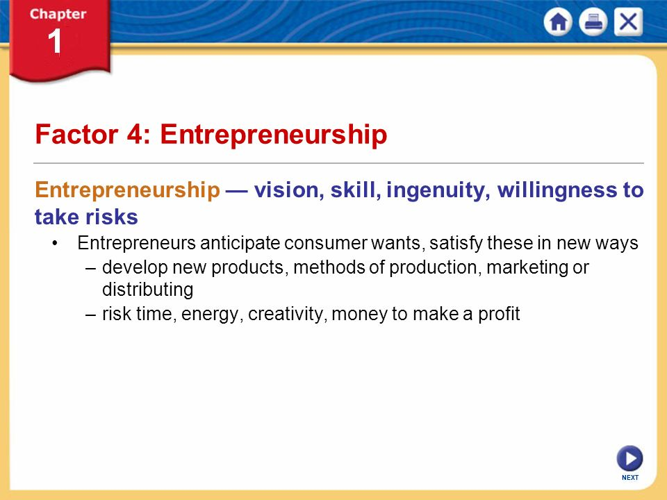 Factor 4: Entrepreneurship