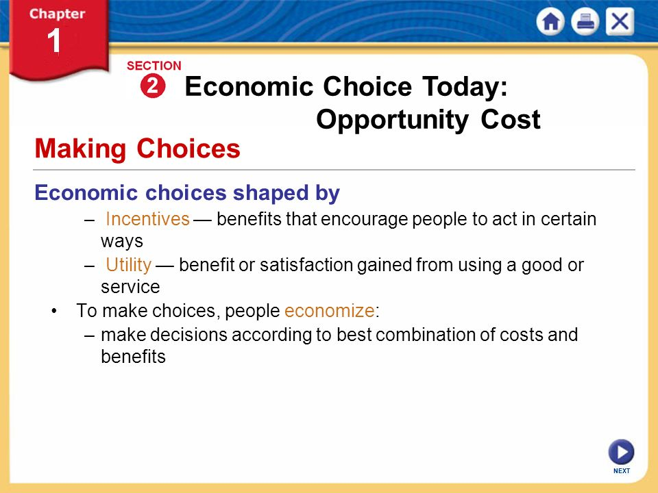 Economic Choice Today: Opportunity Cost