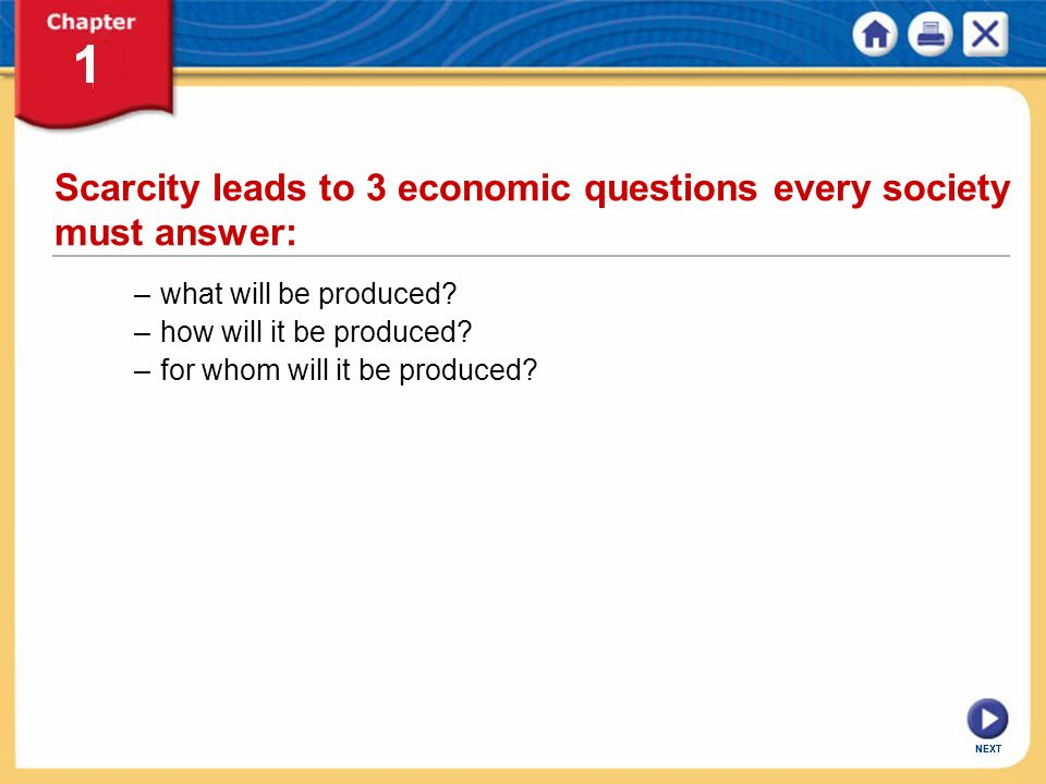 Scarcity leads to 3 economic questions every society must answer: