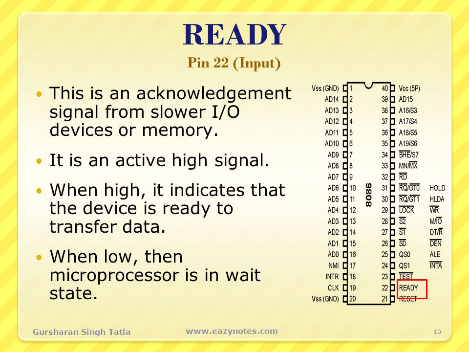READY Pin 22 (Input) This is an acknowledgement signal from slower I/O devices or memory. It is an active high signal.
