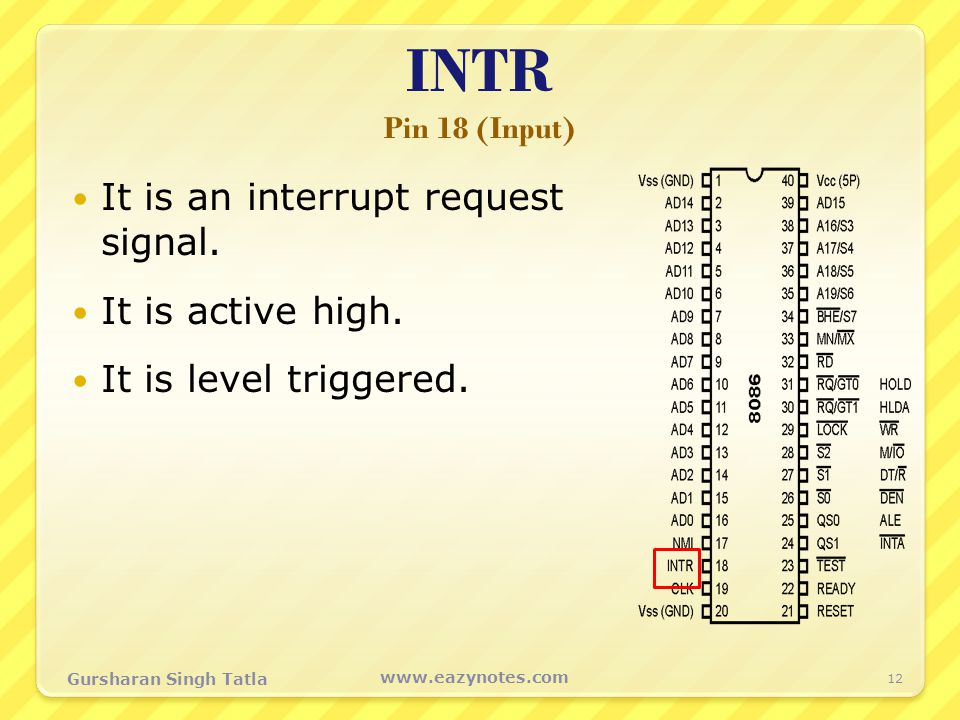 INTR Pin 18 (Input) It is an interrupt request signal.