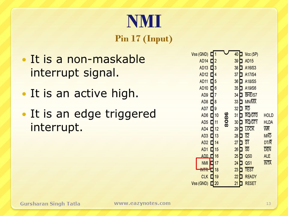 NMI Pin 17 (Input) It is a non-maskable interrupt signal.