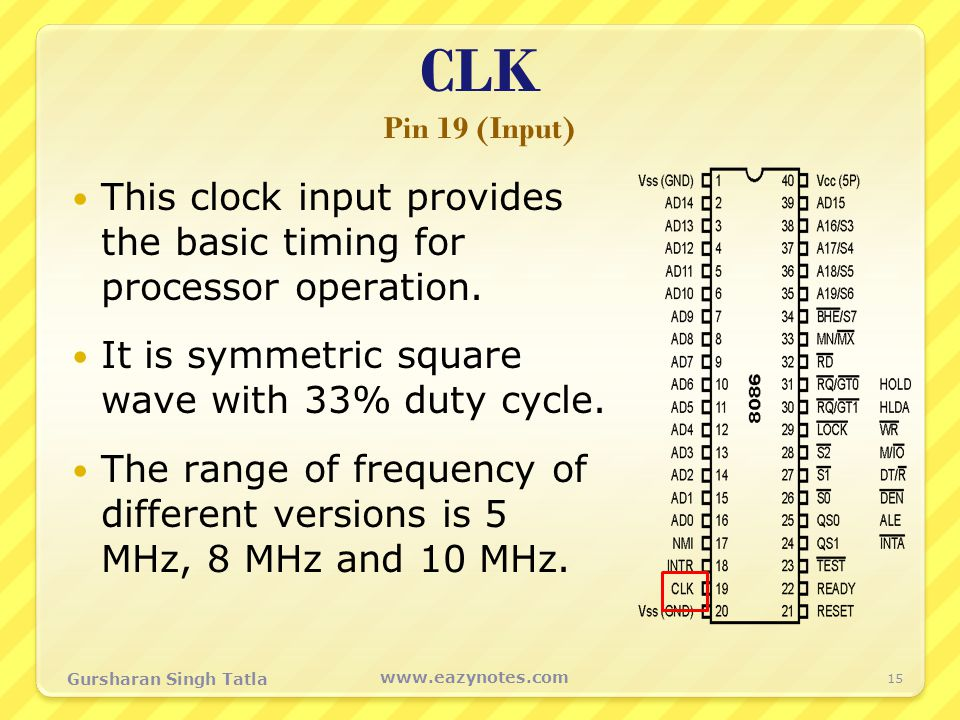 CLK Pin 19 (Input) This clock input provides the basic timing for processor operation. It is symmetric square wave with 33% duty cycle.
