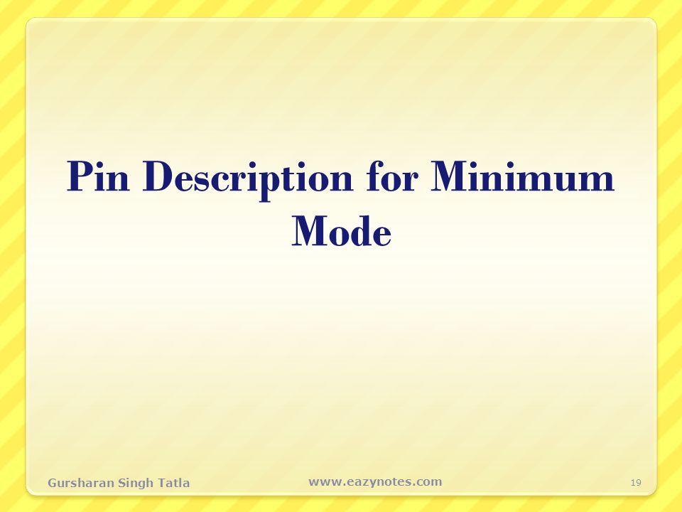 Pin Description for Minimum Mode