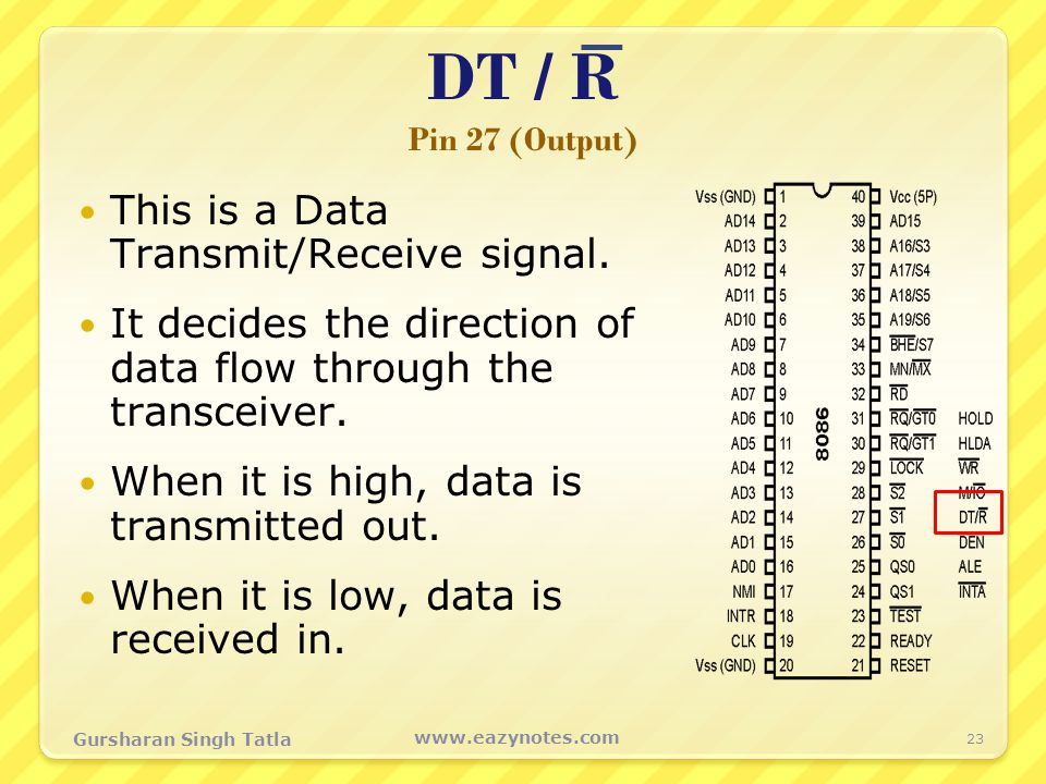 DT / R Pin 27 (Output) This is a Data Transmit/Receive signal.
