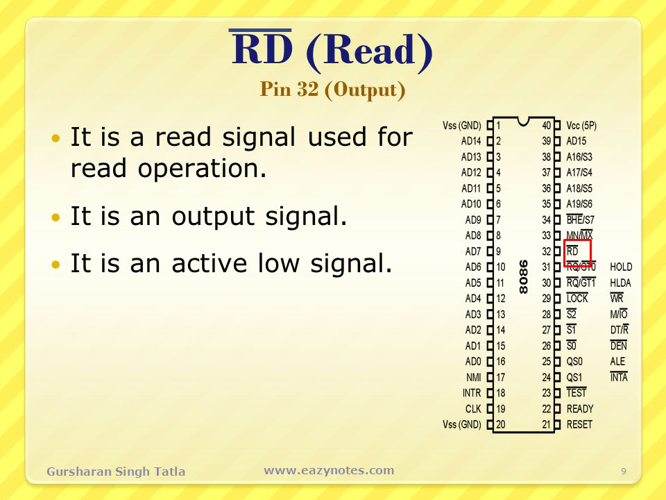 RD (Read) Pin 32 (Output) It is a read signal used for read operation.