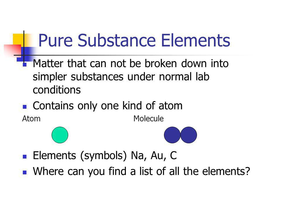 Pure Substance Elements