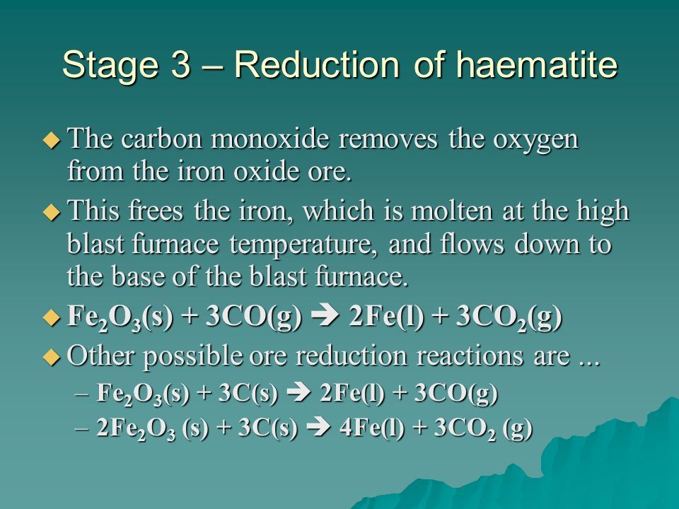 Stage 3 – Reduction of haematite
