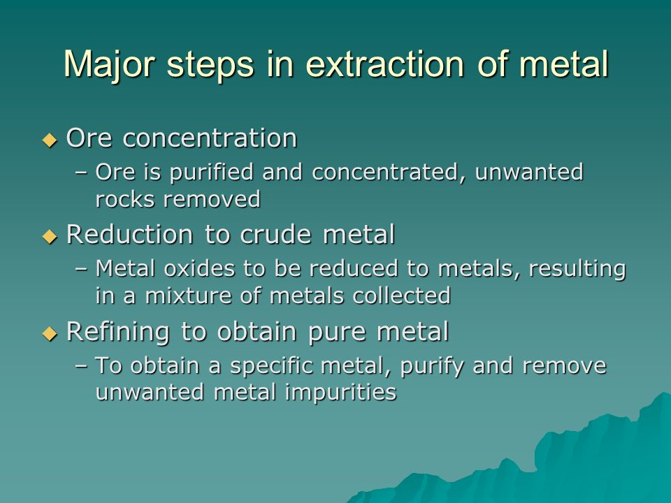 Major steps in extraction of metal