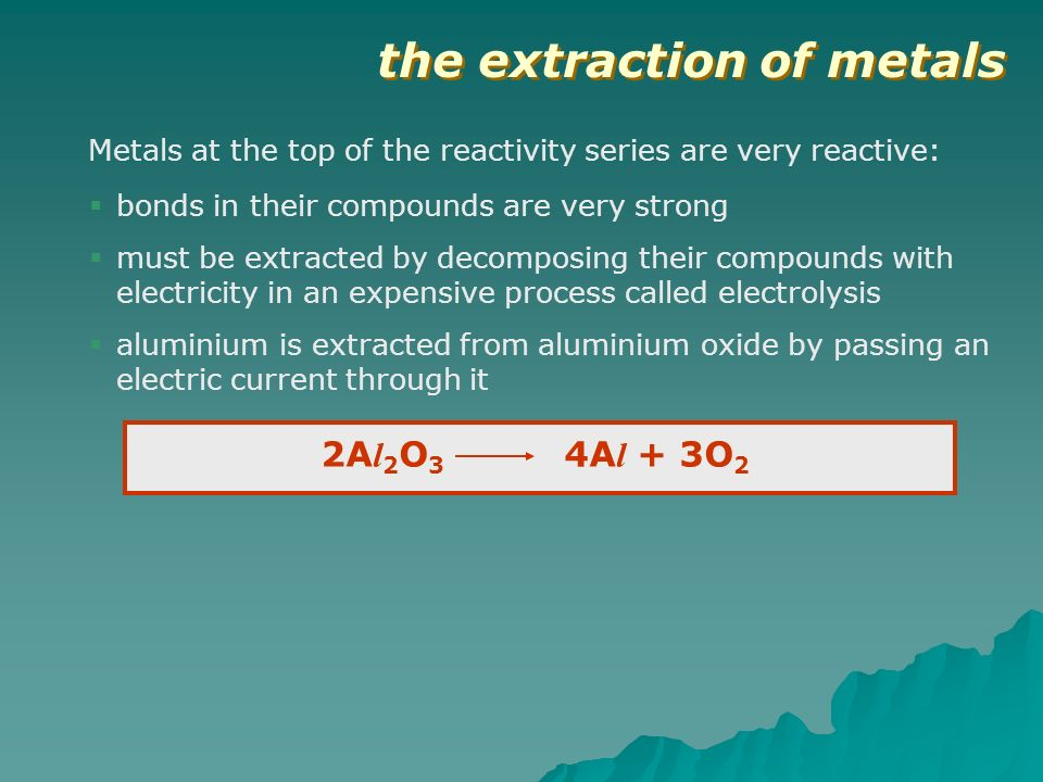 the extraction of metals