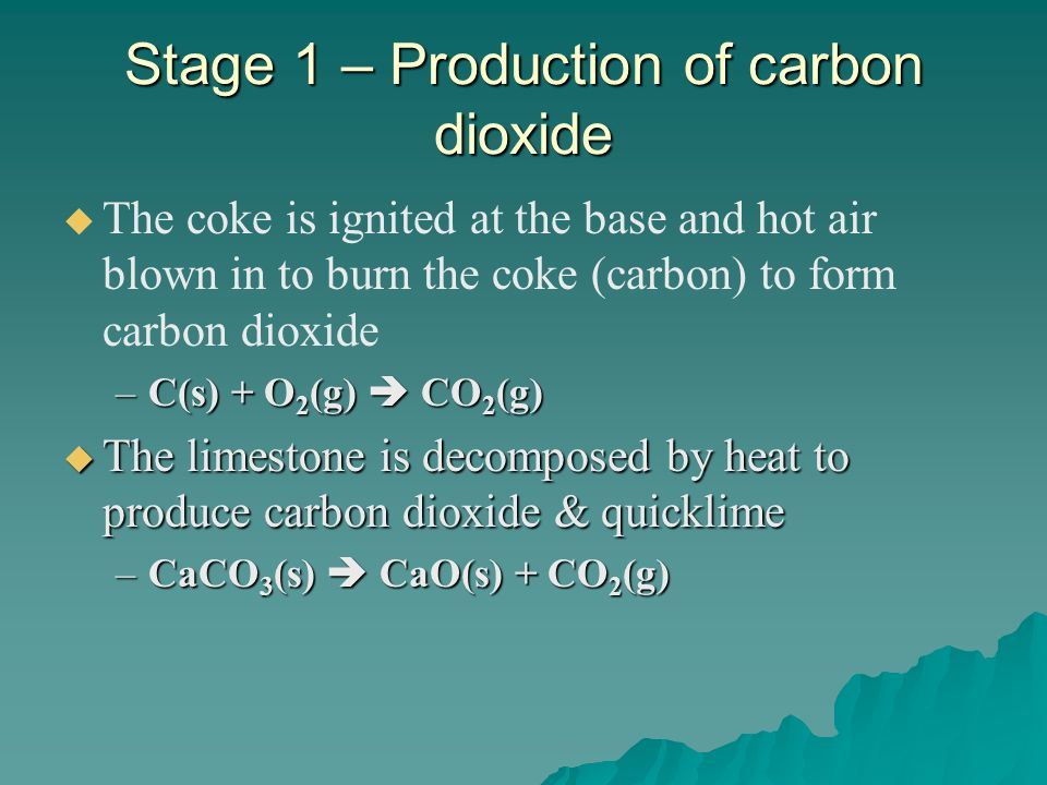 Stage 1 – Production of carbon dioxide