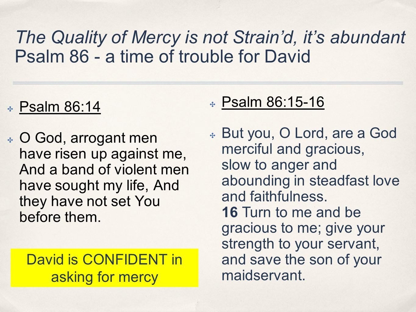 David is CONFIDENT in asking for mercy