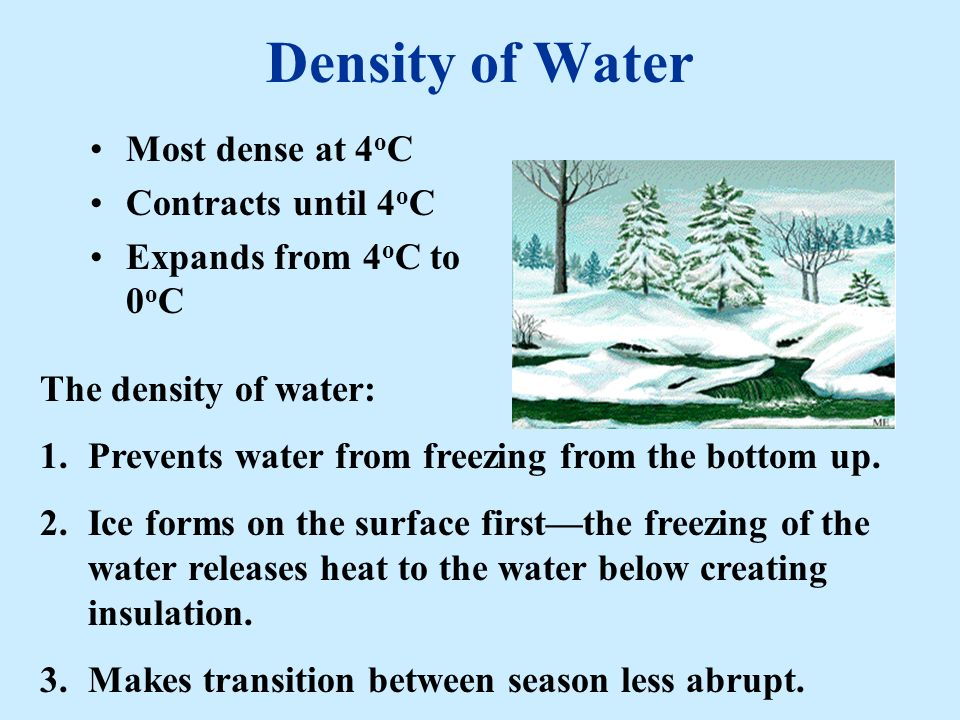 Density of Water Most dense at 4oC Contracts until 4oC