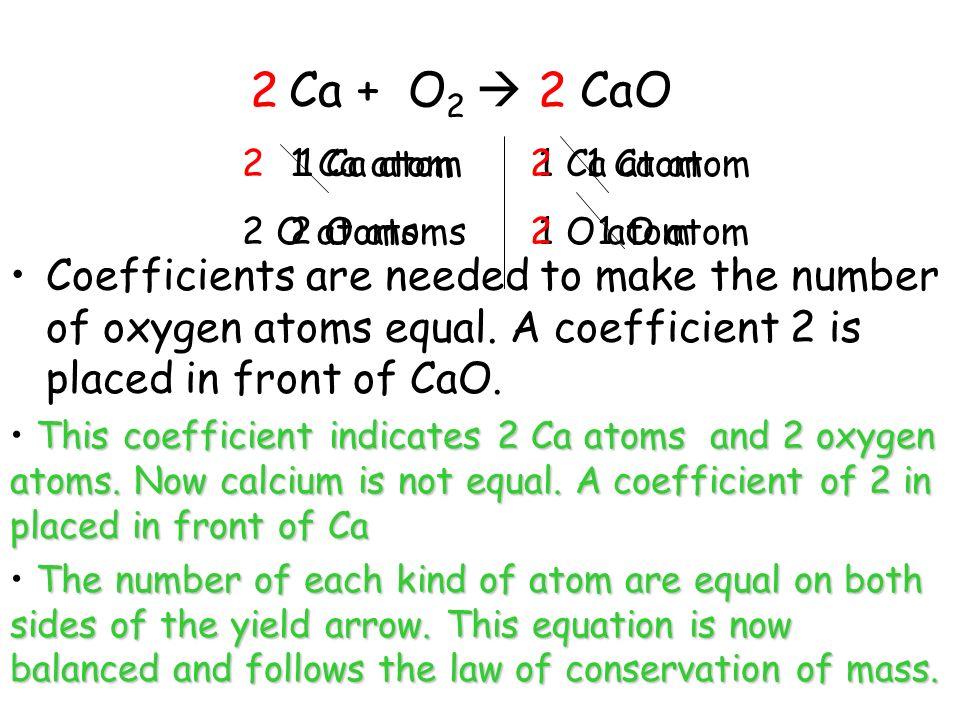 Ca + O2  CaO 2. 2. 2 1 Ca atom. 2 O atoms. 1 Ca atom. 2 O atoms. 2 1 Ca atom. 2 1 O atom.