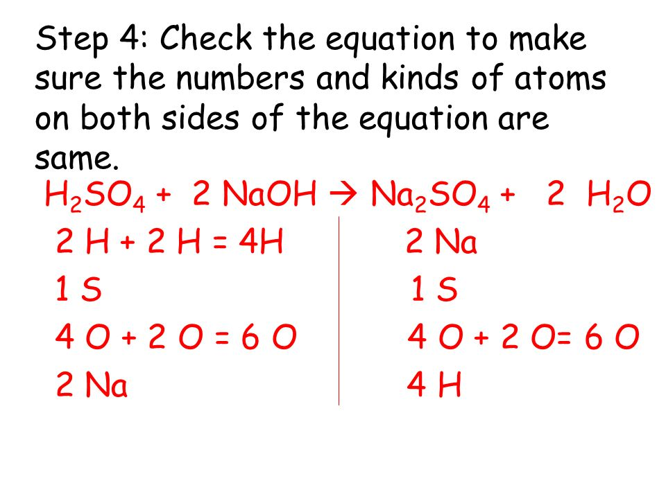 Step 4: Check the equation to make sure the numbers and kinds of atoms on both sides of the equation are same.