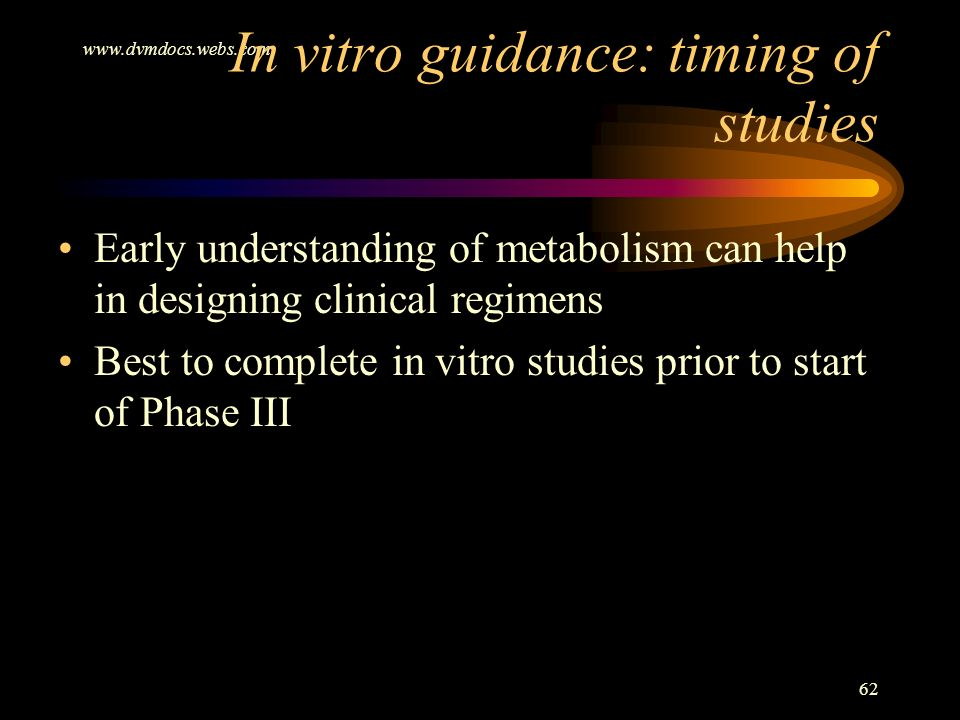 In vitro guidance: timing of studies