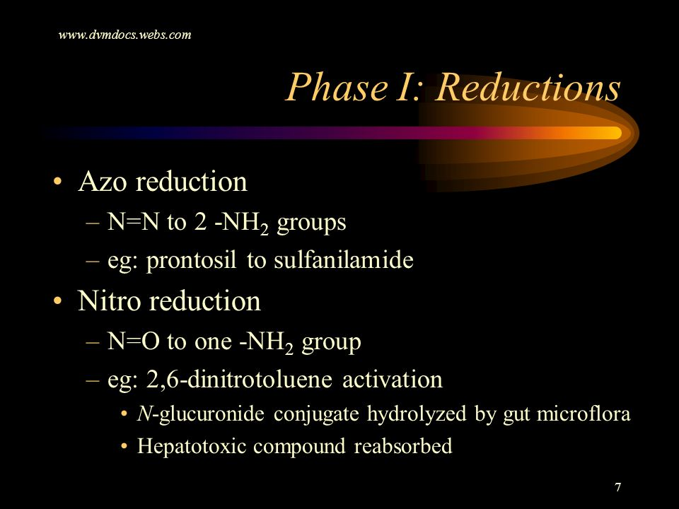 Phase I: Reductions Azo reduction Nitro reduction N=N to 2 -NH2 groups