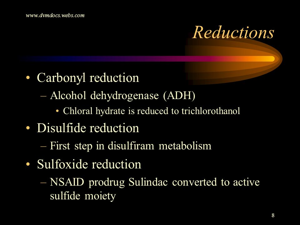 Reductions Carbonyl reduction Disulfide reduction Sulfoxide reduction