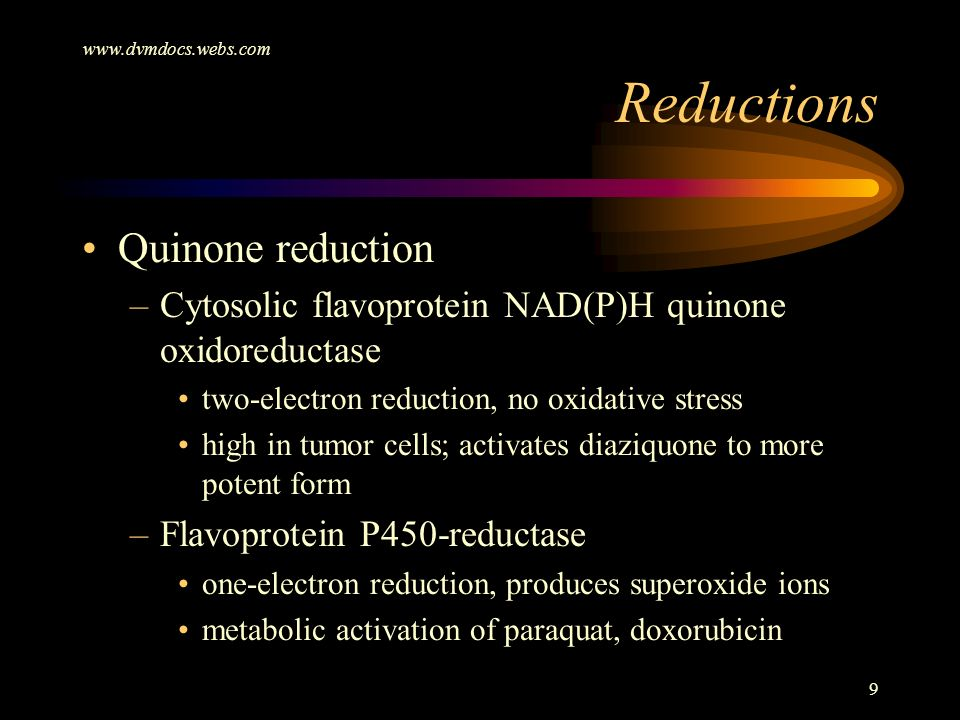 Reductions Quinone reduction