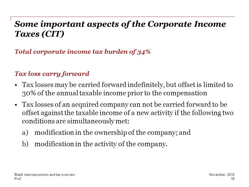 Some important aspects of the Corporate Income Taxes (CIT)