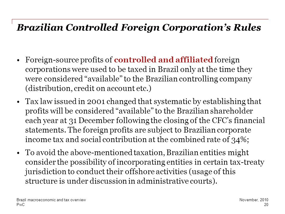 Brazilian Controlled Foreign Corporation's Rules