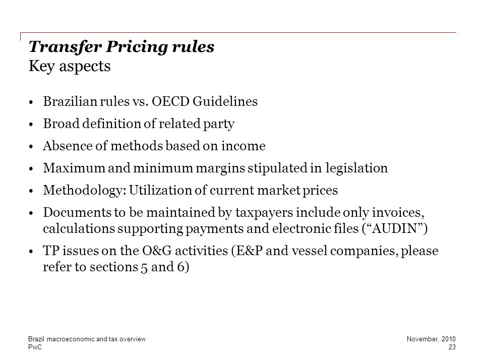 Transfer Pricing rules Key aspects