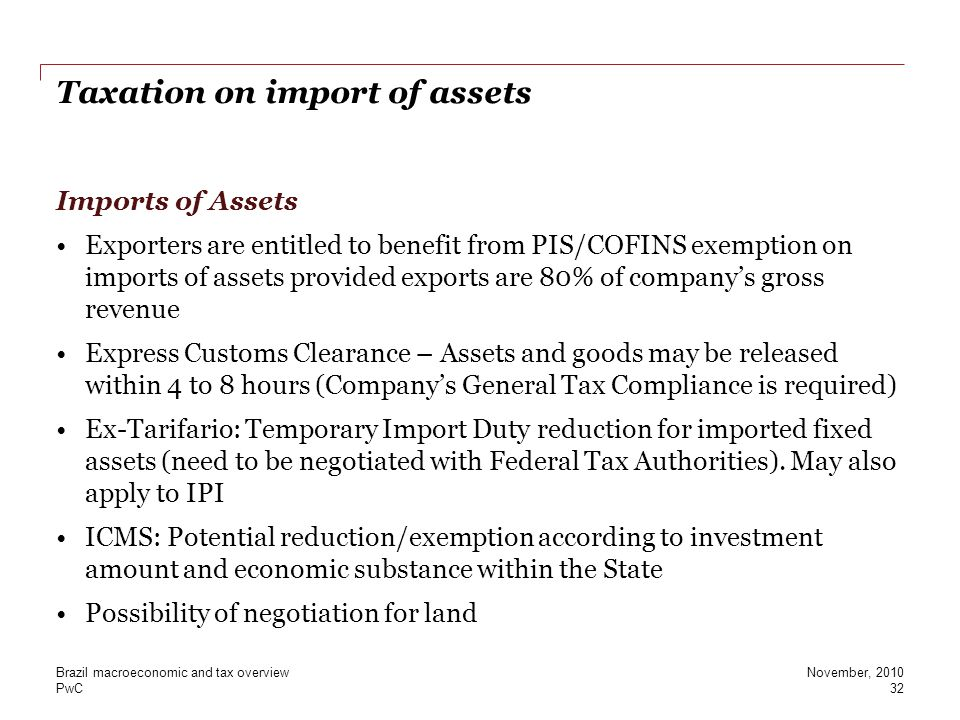 Taxation on import of assets