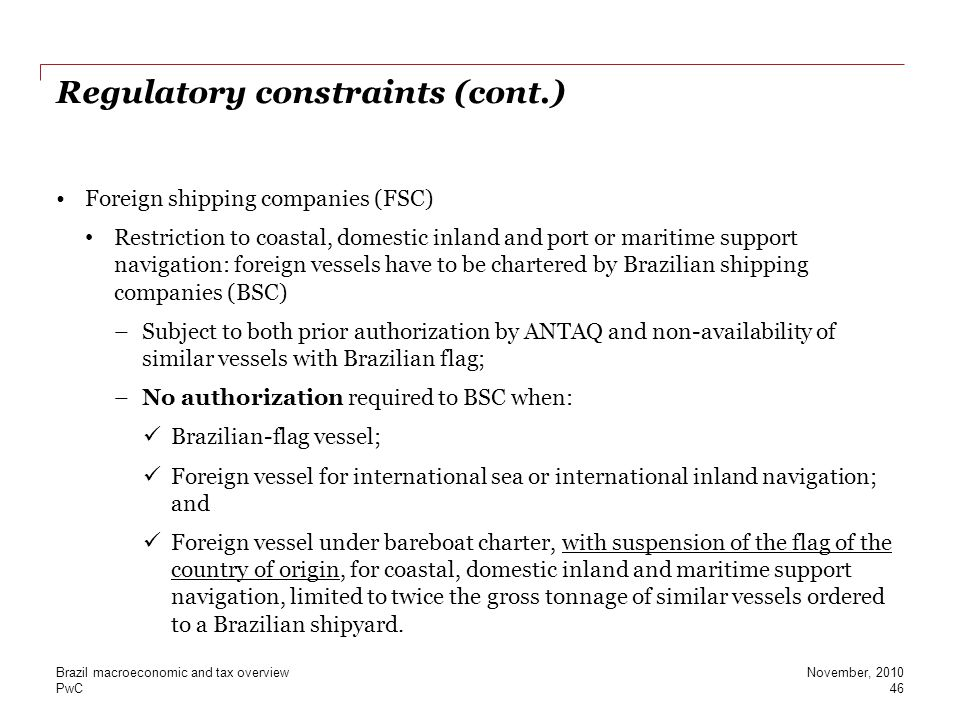 Regulatory constraints (cont.)