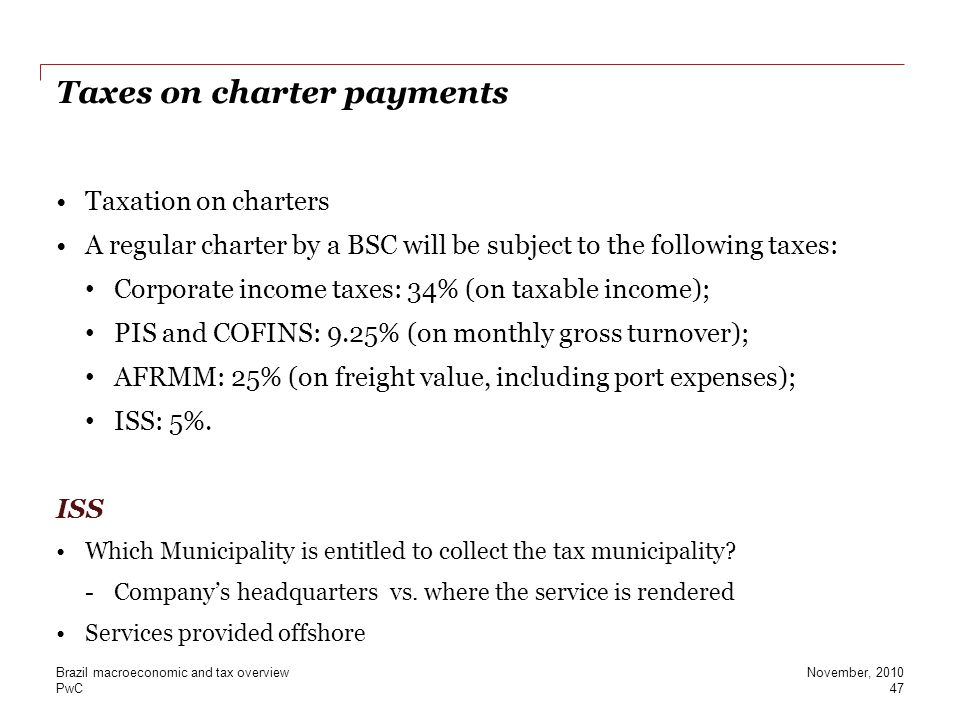 Taxes on charter payments