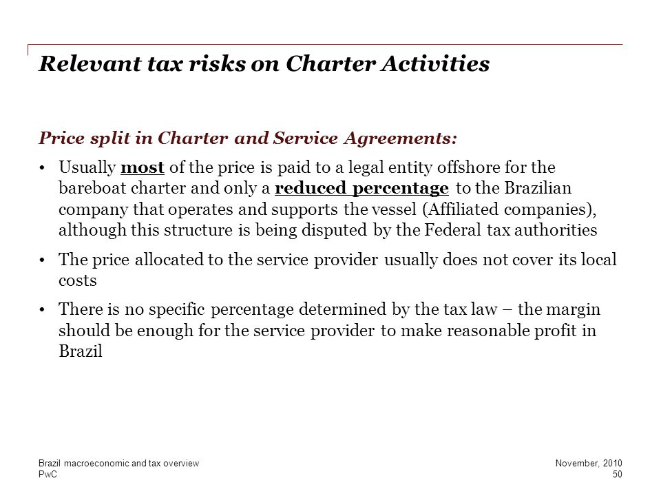 Relevant tax risks on Charter Activities