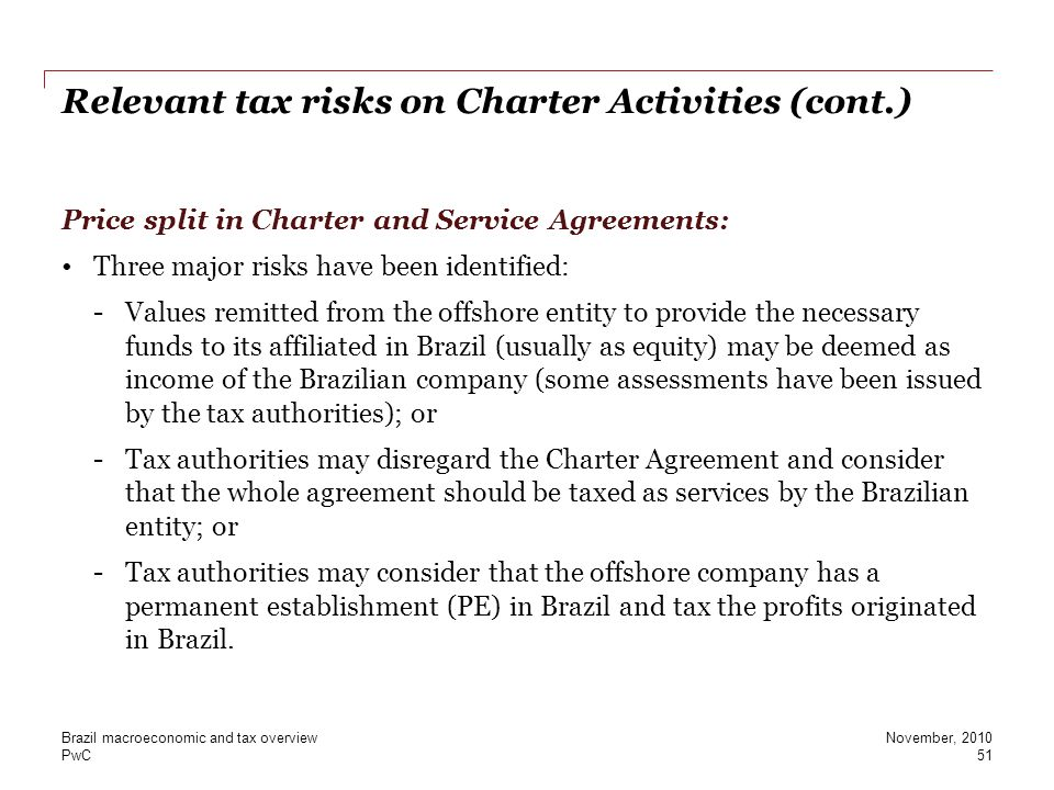 Relevant tax risks on Charter Activities (cont.)