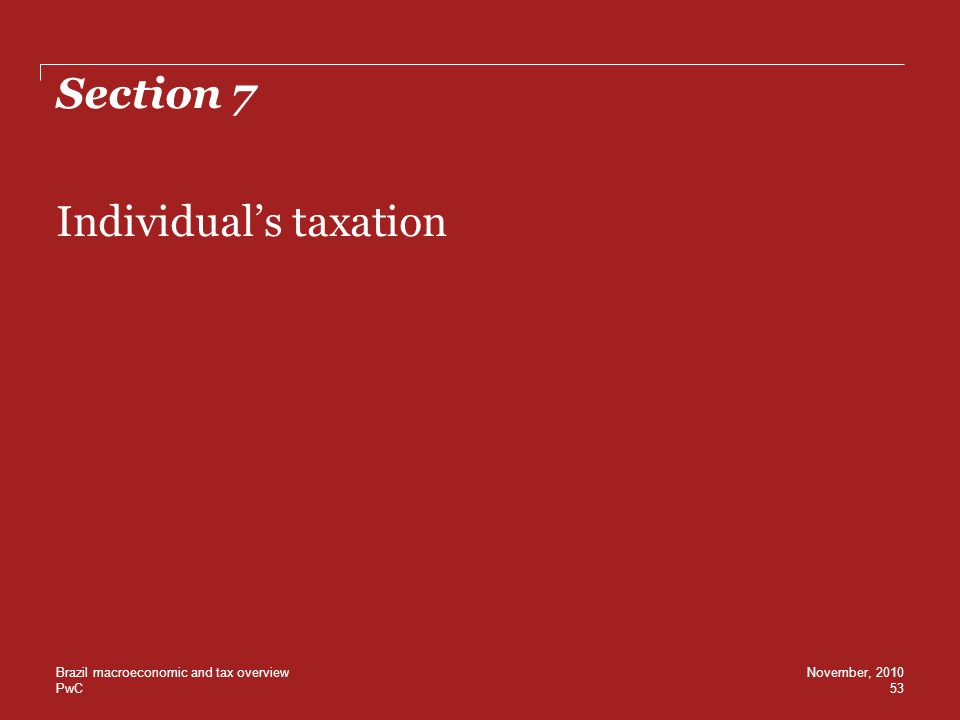 Individual's taxation