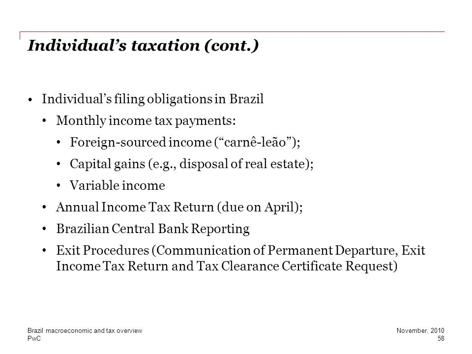 Individual's taxation (cont.)