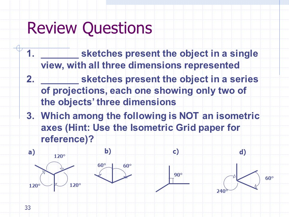 Review Questions _______ sketches present the object in a single view, with all three dimensions represented.